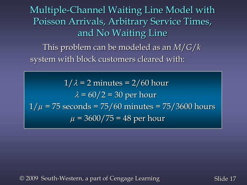 Multiple-Channel Waiting Line Model with Poisson Arrivals, Arbitrary Service Times,