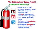 fire extinguisher types cont