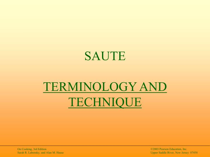 Saute terminology and technique