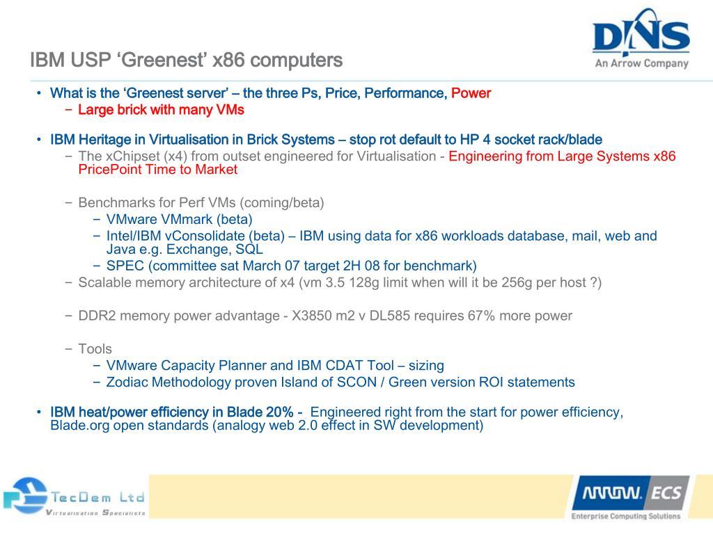 IBM USP 'Greenest' x86 computers