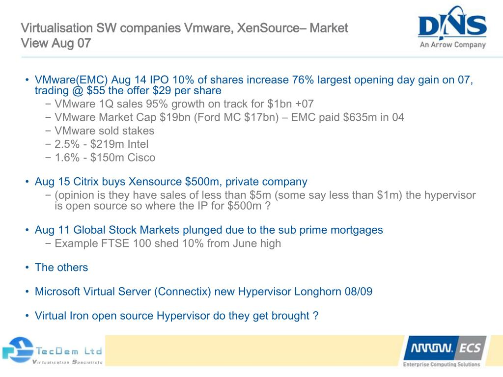 Virtualisation SW companies Vmware, XenSource– Market View Aug 07
