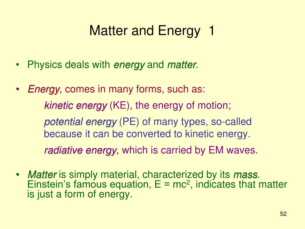Matter and Energy  1