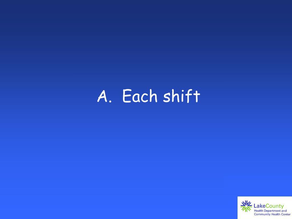 A.  Each shift