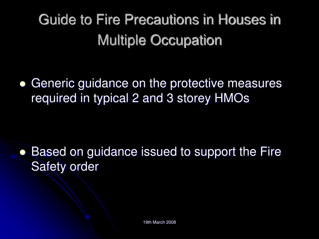 Guide to Fire Precautions in Houses in Multiple Occupation