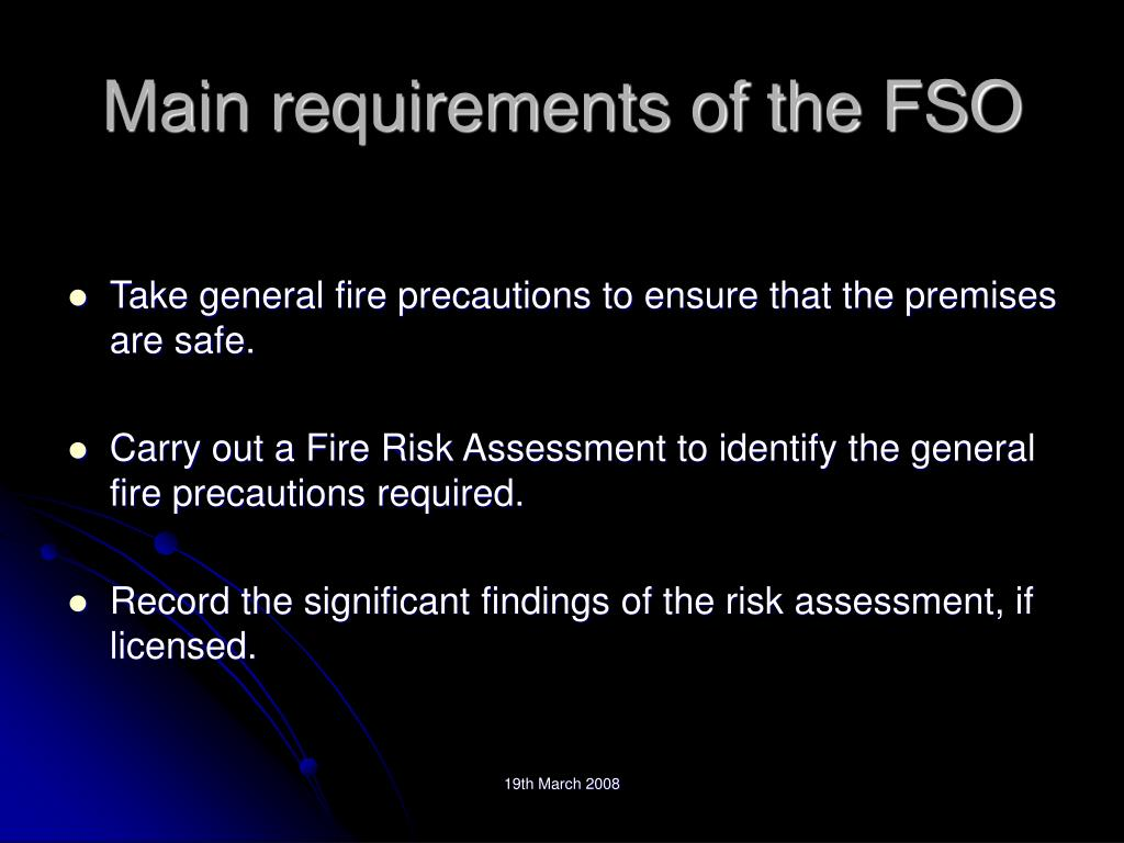 Main requirements of the FSO