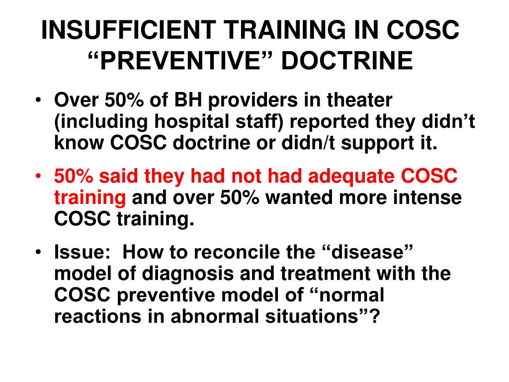 "INSUFFICIENT TRAINING IN COSC ""PREVENTIVE"" DOCTRINE"