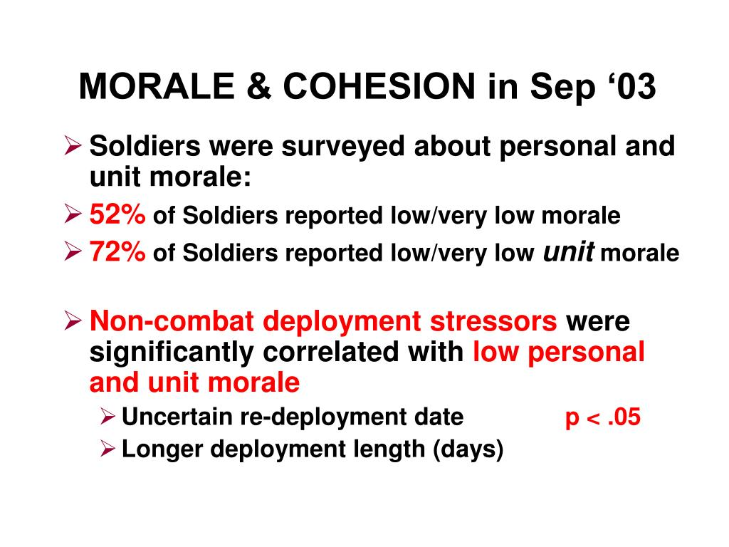 MORALE & COHESION in Sep '03