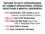 return to duty percentages of combat operational stress reactions mental disorders