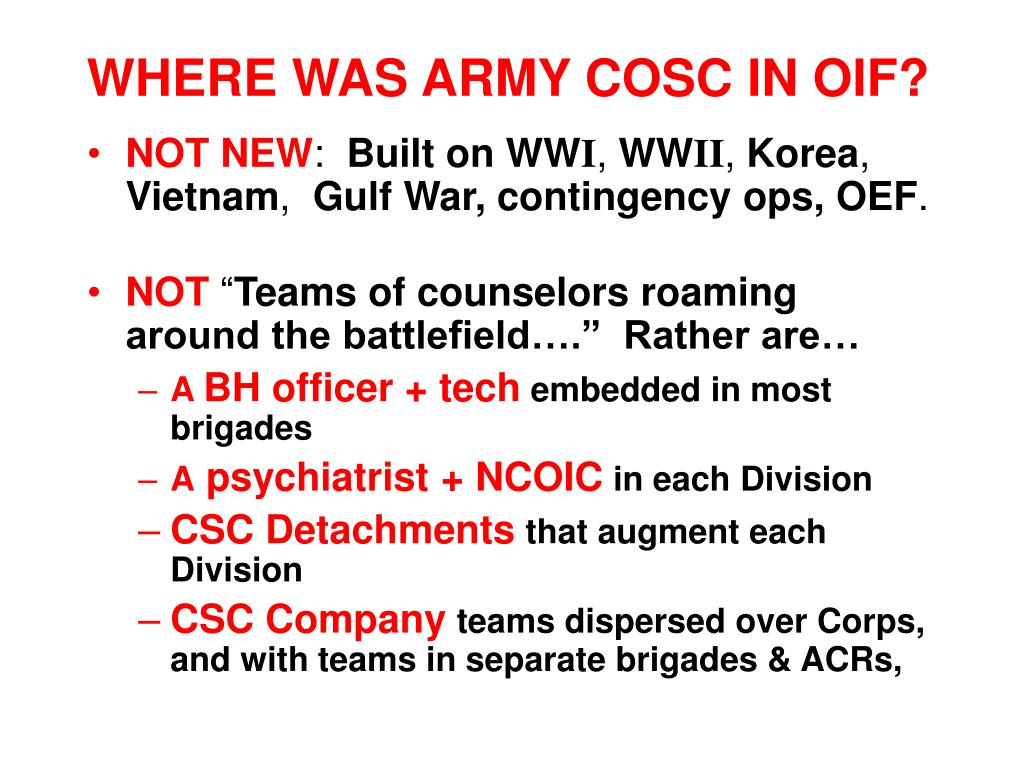 WHERE WAS ARMY COSC IN OIF?