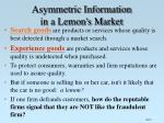 asymmetric information in a lemon s market