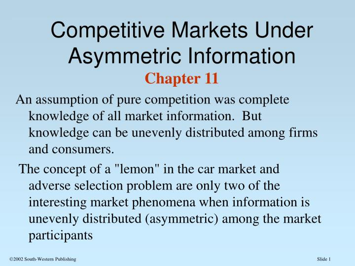 Competitive markets under asymmetric information chapter 11