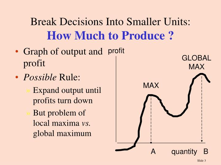 Break decisions into smaller units how much to produce