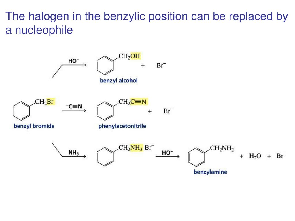 The halogen in the benzylic position can be replaced by