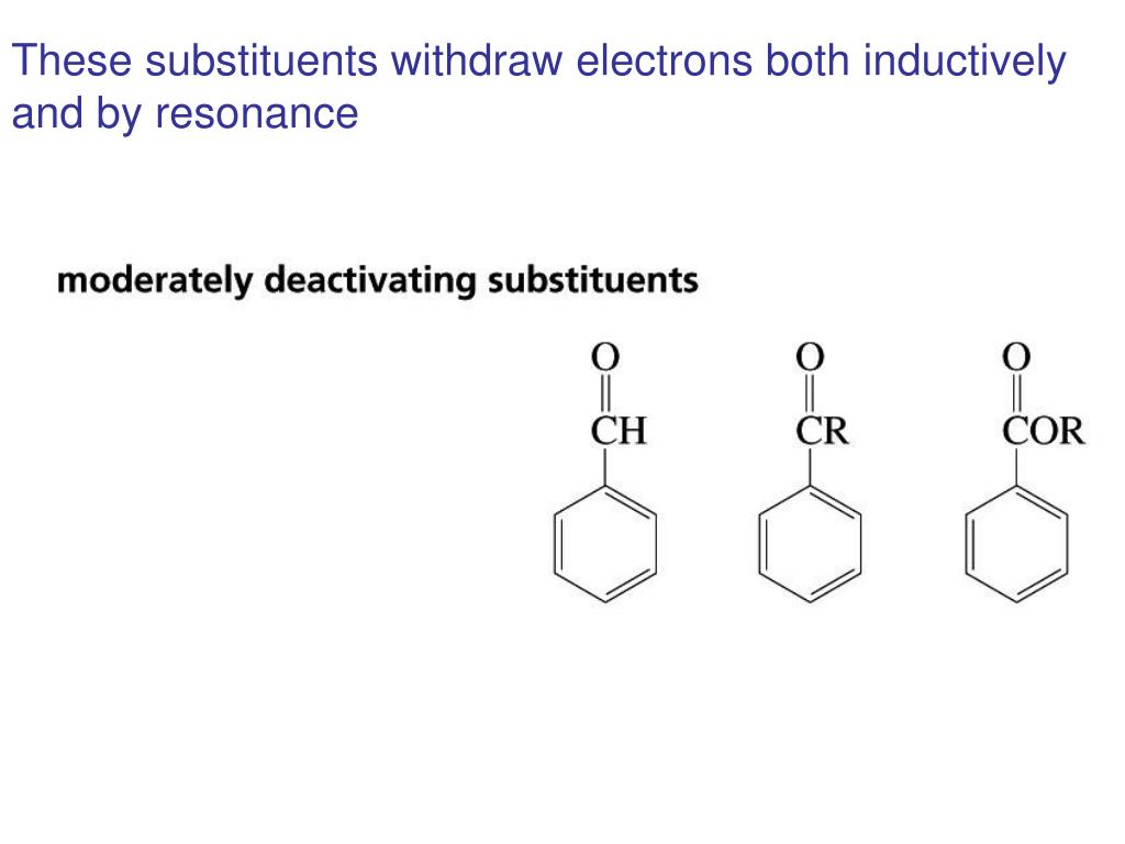 These substituents withdraw electrons both inductively