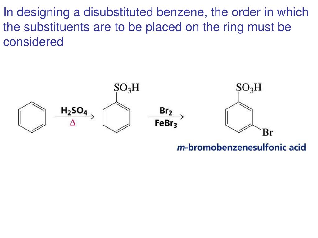 In designing a disubstituted benzene, the order in which