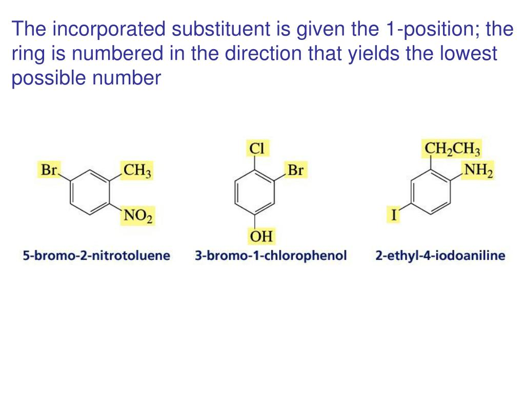 The incorporated substituent is given the 1-position; the