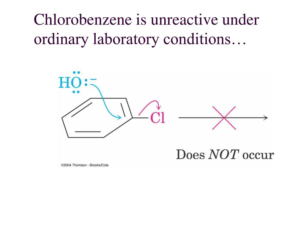 Chlorobenzene is unreactive under ordinary laboratory conditions…