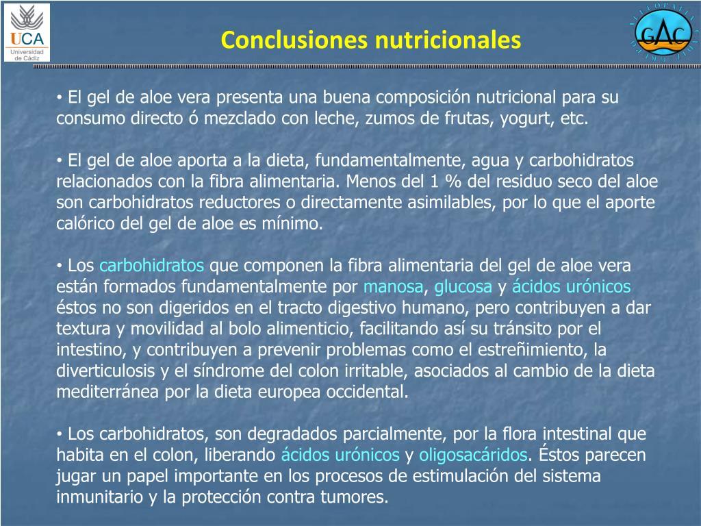 Conclusiones nutricionales