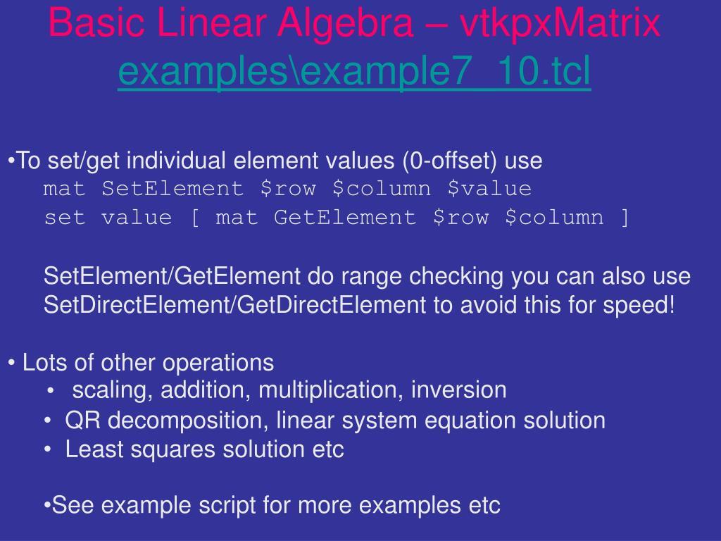 Basic Linear Algebra – vtkpxMatrix