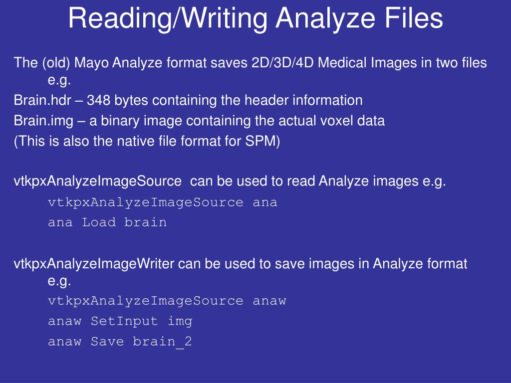 Reading/Writing Analyze Files