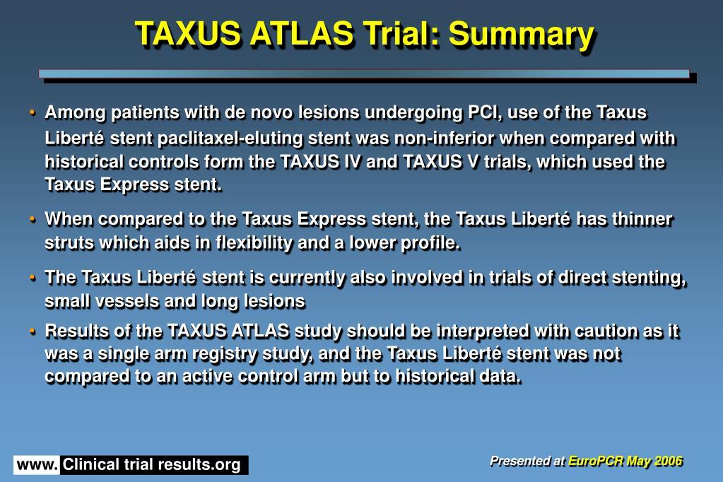 TAXUS ATLAS Trial: Summary
