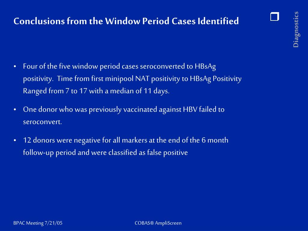 Conclusions from the Window Period Cases Identified