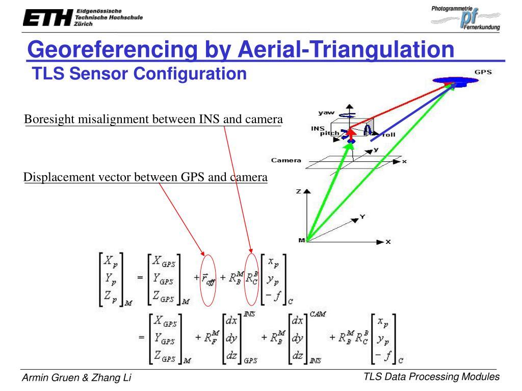 Displacement vector between GPS and camera