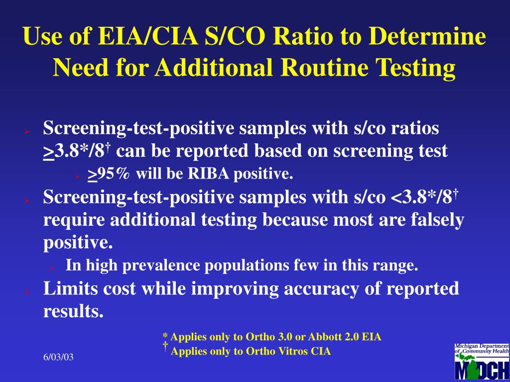 Use of EIA/CIA S/CO Ratio to Determine Need for Additional Routine Testing