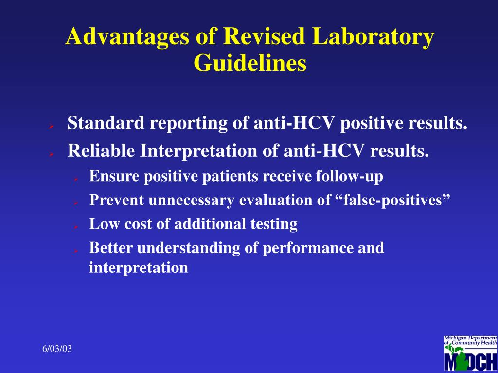 Advantages of Revised Laboratory Guidelines