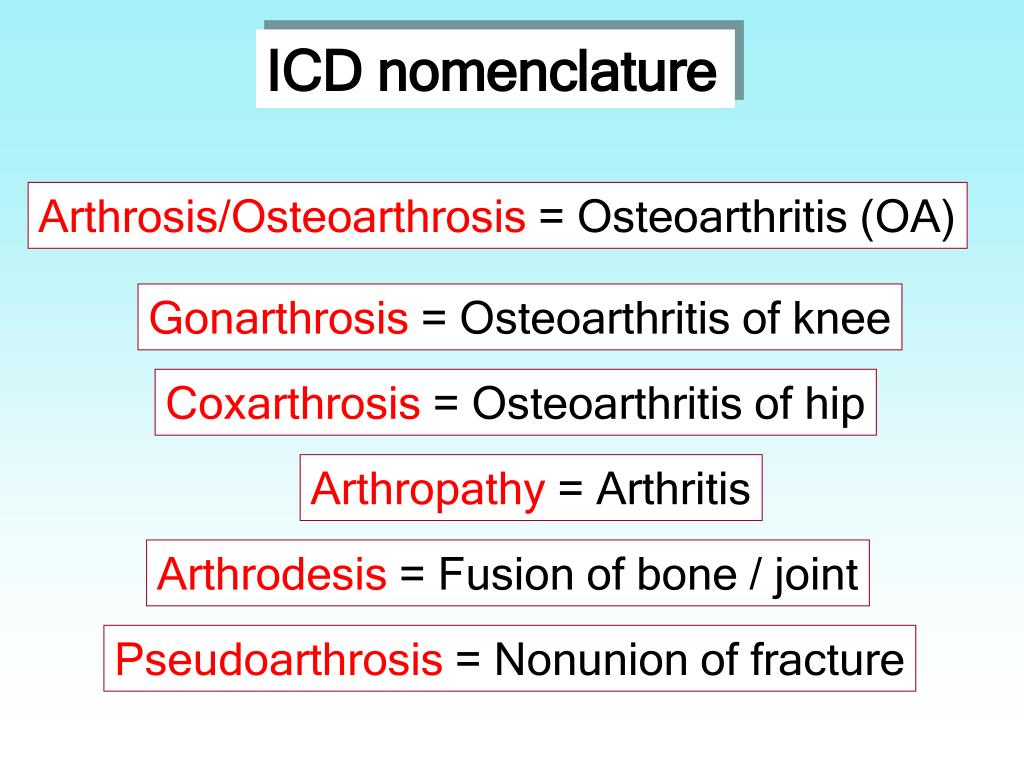 ICD nomenclature
