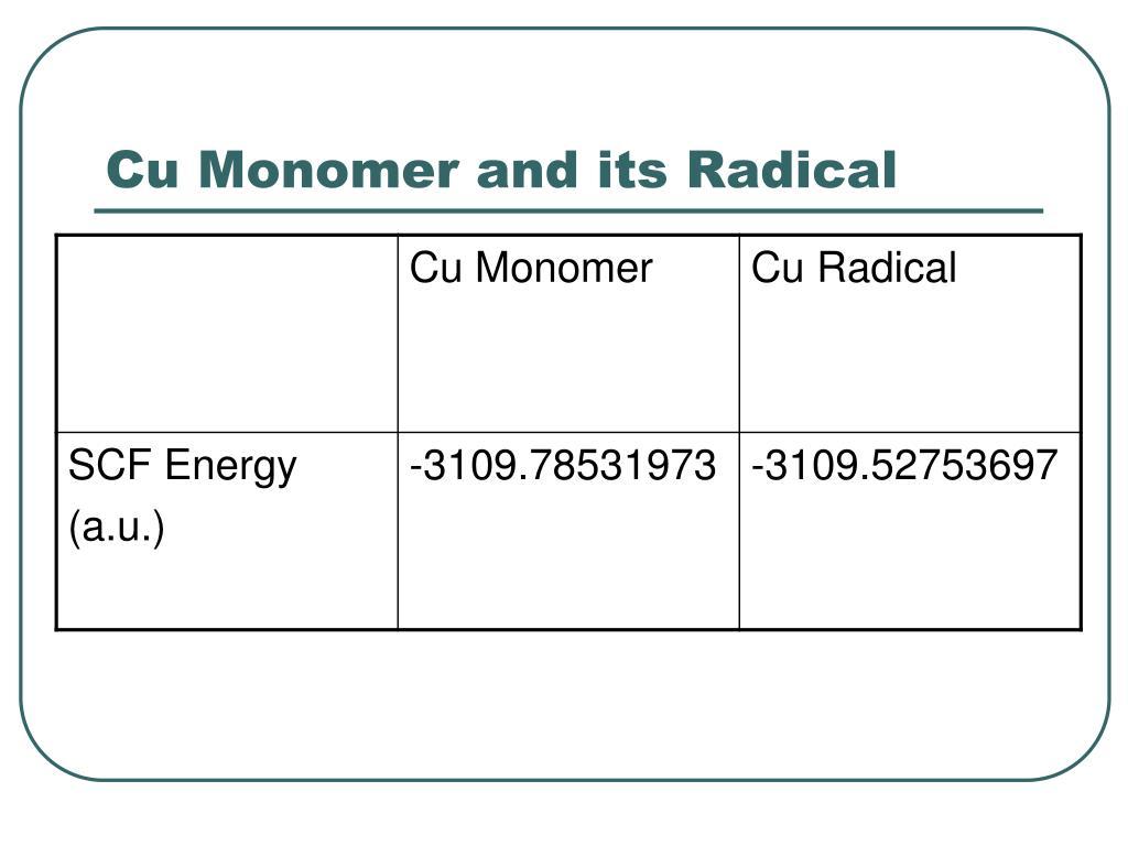Cu Monomer and its Radical