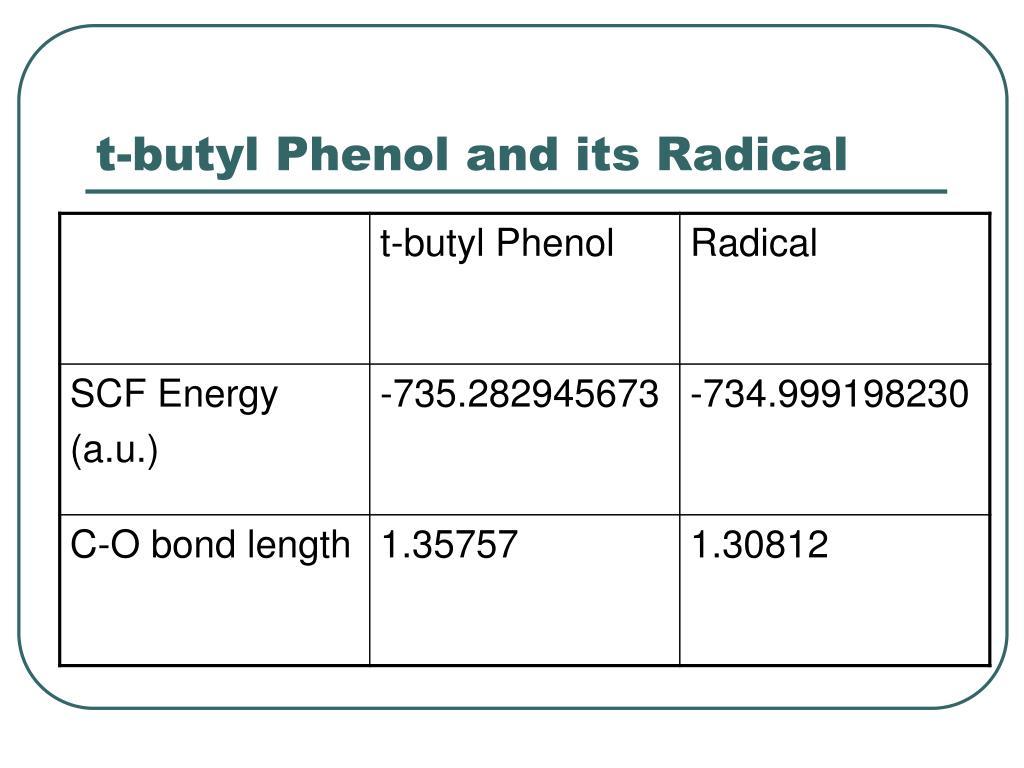 t-butyl Phenol and its Radical