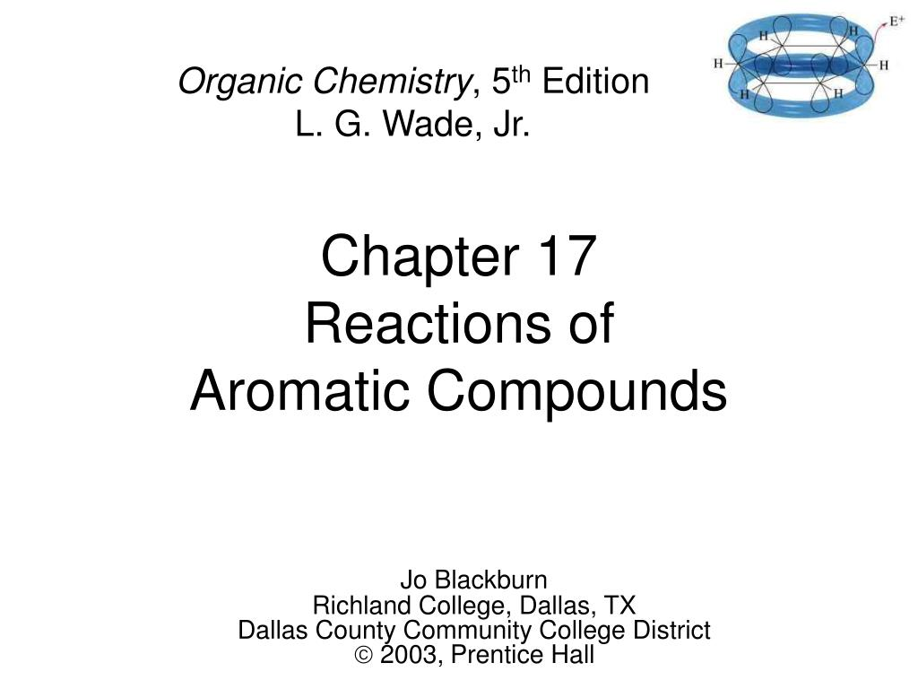 chapter 17 reactions of aromatic compounds