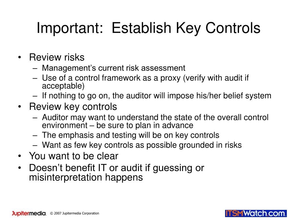 Important:  Establish Key Controls