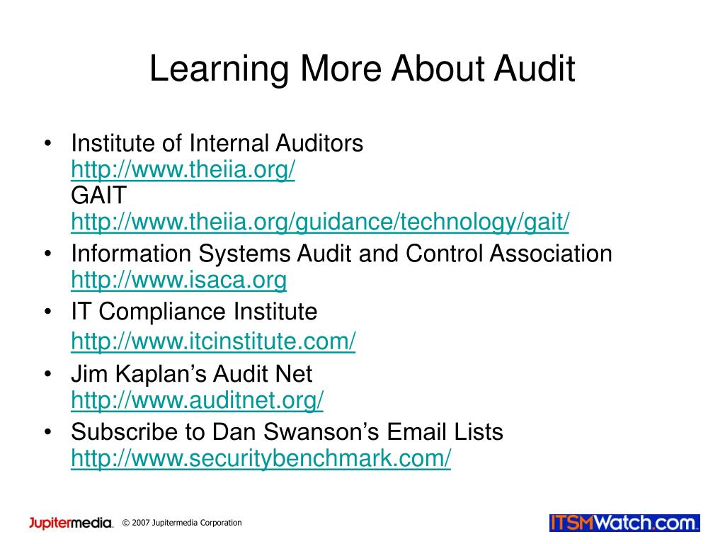 Learning More About Audit