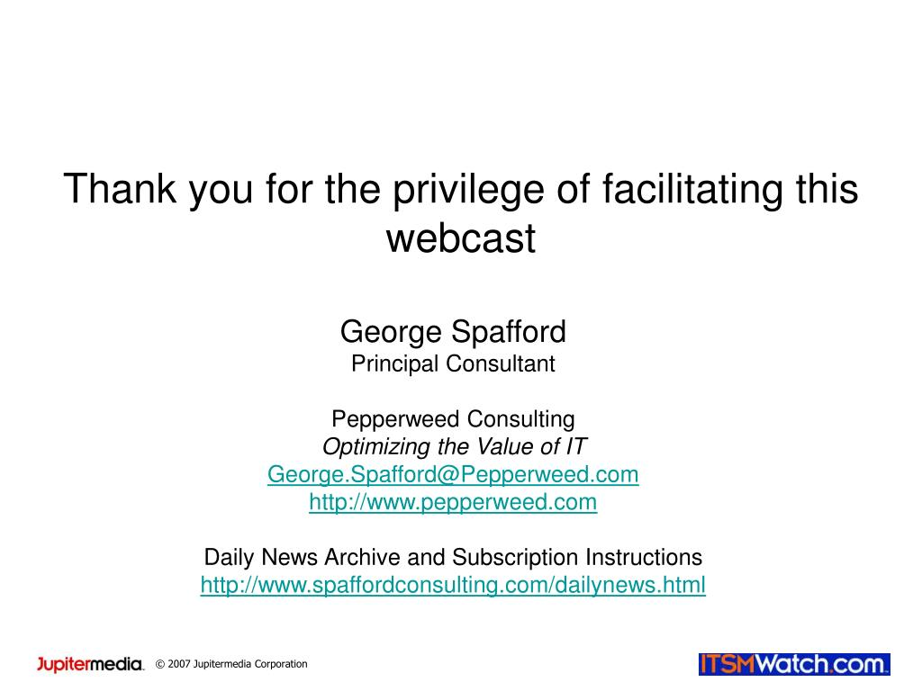 Thank you for the privilege of facilitating this webcast