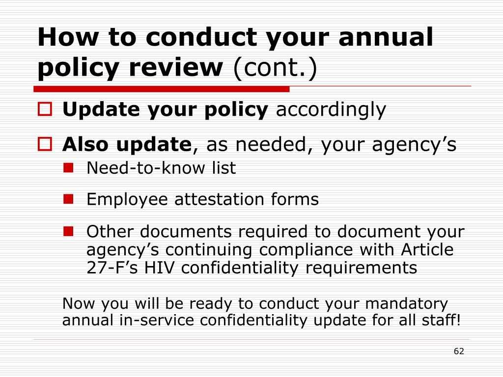 How to conduct your annual policy review