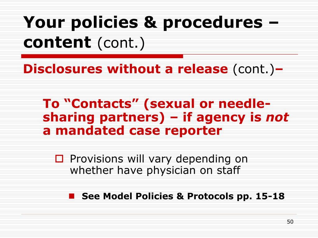 Your policies & procedures – content