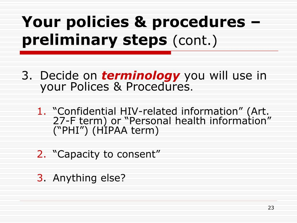 Your policies & procedures – preliminary steps