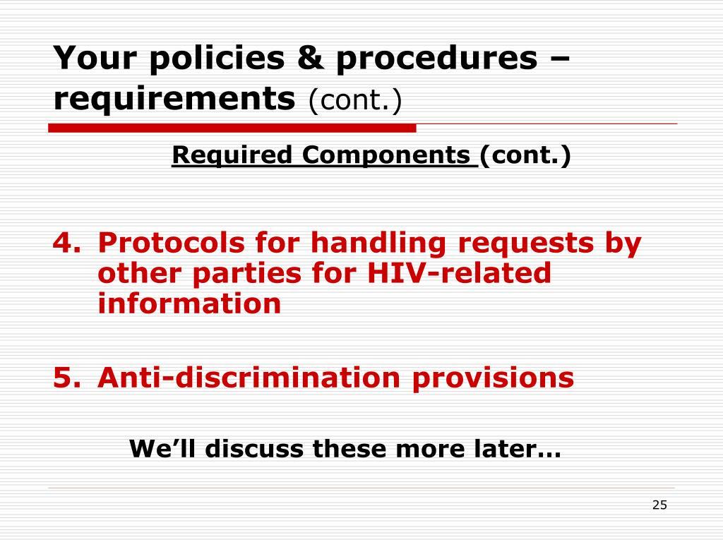 Your policies & procedures – requirements