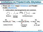 limitations on friedel crafts alkylation