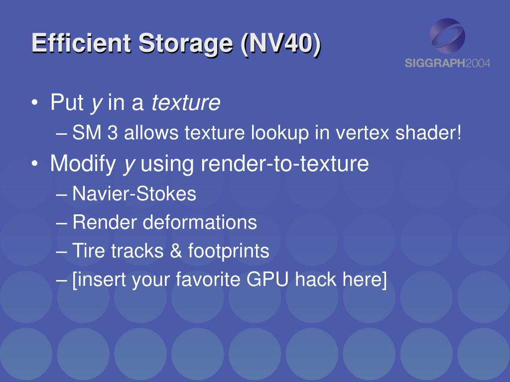 Efficient Storage (NV40)