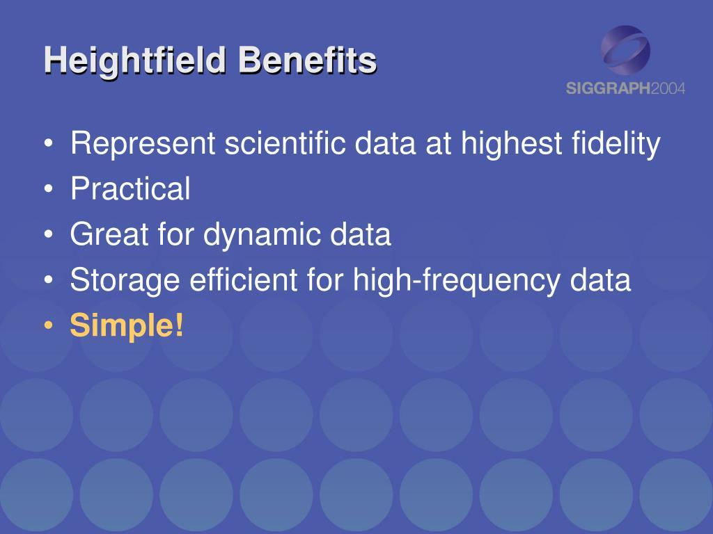 Heightfield Benefits
