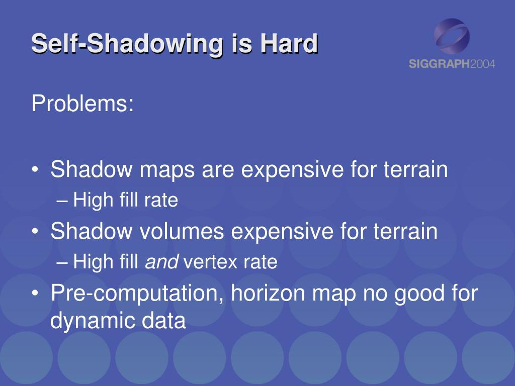 Self-Shadowing is Hard