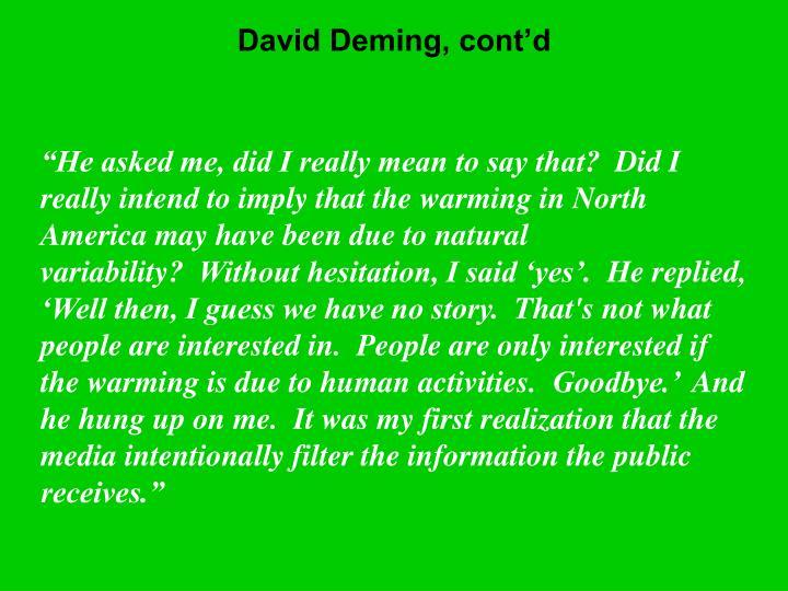 David Deming, cont'd