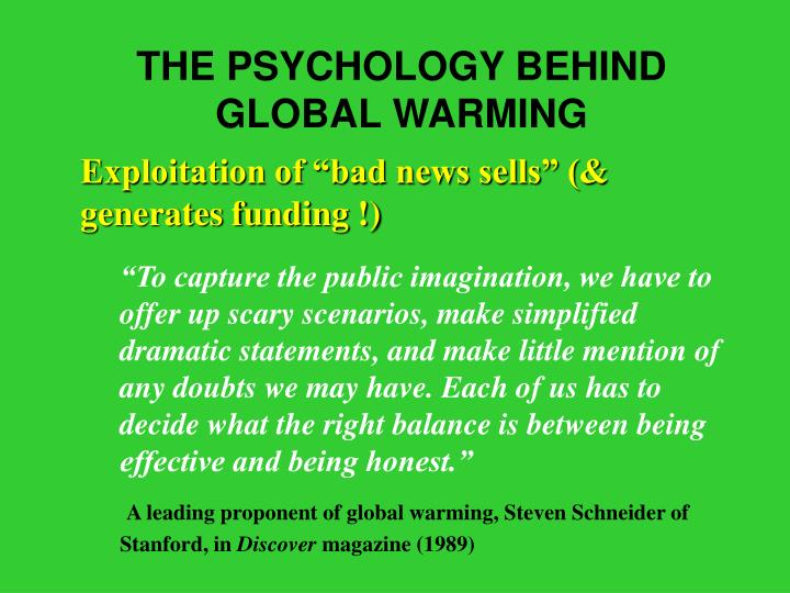 THE PSYCHOLOGY BEHIND GLOBAL WARMING