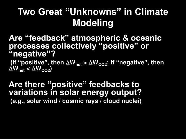 "Two Great ""Unknowns"" in Climate Modeling"