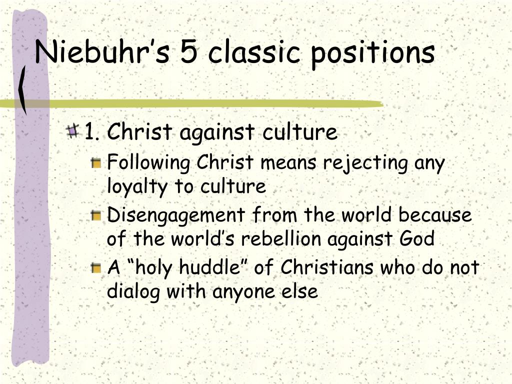 Niebuhr's 5 classic positions