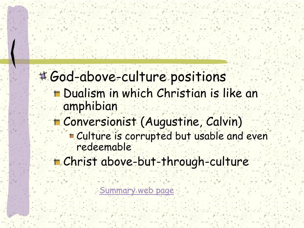 God-above-culture positions