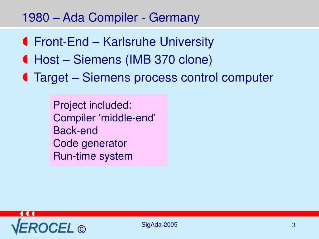 1980 – Ada Compiler - Germany
